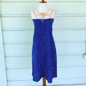 Vintage 60s Blue Floral Shift Dress w/ Lace Detail